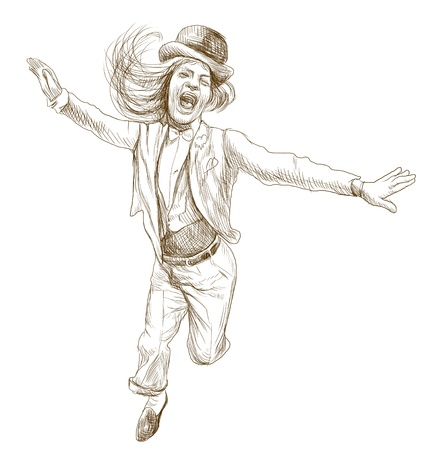 spontaneous: jumping and happy people - hand drawing