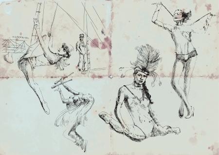 gymnastics and circus beauties - hand drawings Stock Vector - 16190341