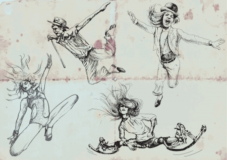 spontaneous: jumping and happy people - hand drawings