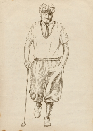 golf player  original full sized drawing Stock Photo - 16254097