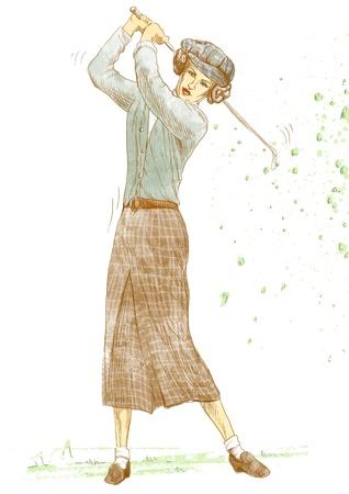 골프 선수 원래의 크기로 그리기 스톡 사진