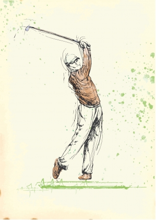 digest: golfer 6  hand drawing into vector