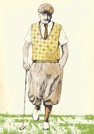 Golfista 5 disegno a mano nel vettore Archivio Fotografico - 16254341