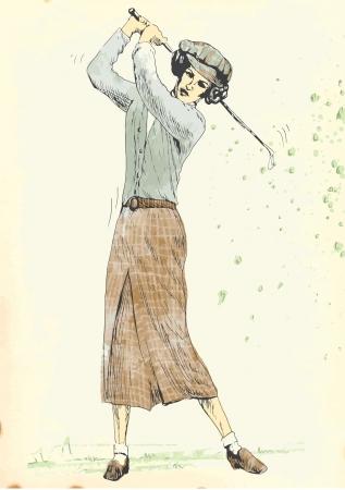 teen golf: golfista 4 Dibujo a mano alzada en el vector Vectores