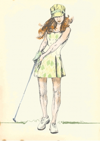 teen golf: 2 golfista mano dibujo en el vector