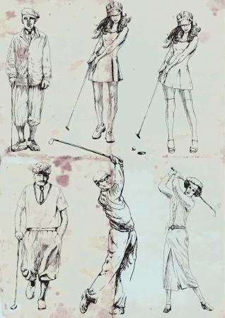teen golf: golf dibujos de recogida a mano en conjunto de vectores