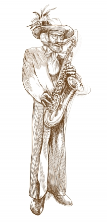musician jazzman, sax player, full sized hand drawing photo