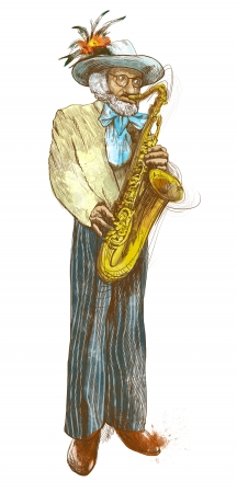sized: musician jazzman, sax player, full sized hand drawing