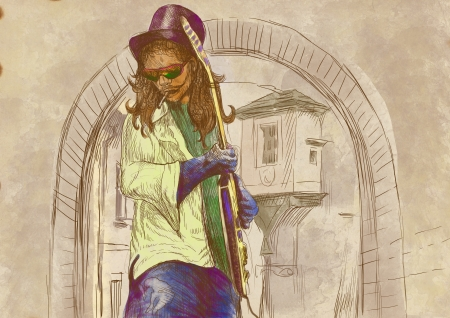 boffin: musician rocker, guitar player, full sized hand drawing