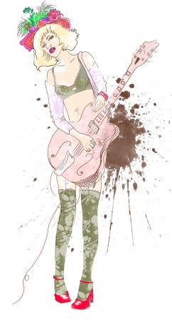 sized: musician girl, guitar player, full sized hand drawing