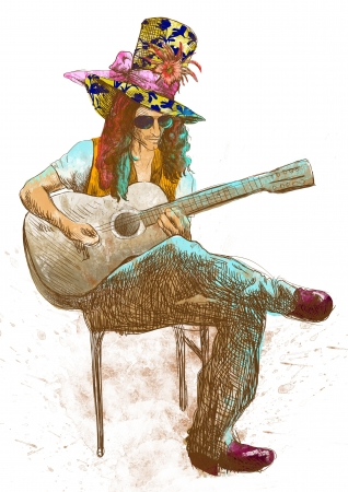 musician, guitar player, full sized hand drawing