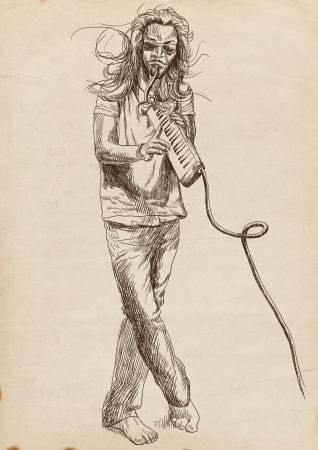 masters of rock: musician, melodion player, full sized hand drawing