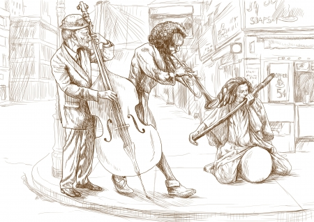 jay: musicians, strange band, full size hand drawing