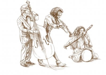 full size: musicians, strange band, full size hand drawing