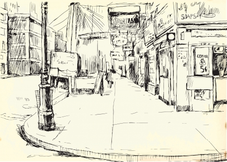 building sketch: Lonely American Street   Illustration