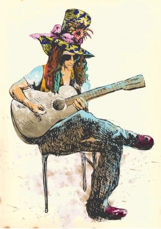 eccentric: Guitar player - Eccentric with a colored hat