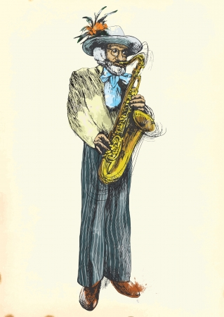 masters of rock: Saxophone player - Fabulously beloved grandfather   Illustration