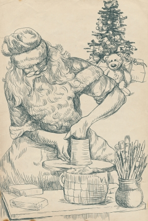 Santa Claus working on a potter s wheel - Homemade Xmas photo