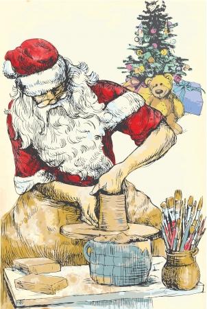 Santa Claus working on a potter s wheel - Homemade Xmas Stock Vector - 16441376