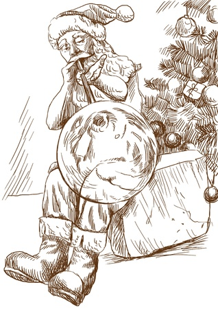 glassblower: Santa Claus himself made gifts - As a glassblower blows Christmas ornaments on tree