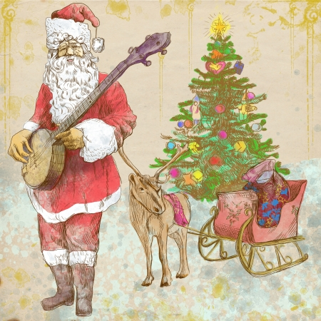 Santa Claus musician - he goes to play Christmas Carols on the Banjo  Stock Photo - 16494360