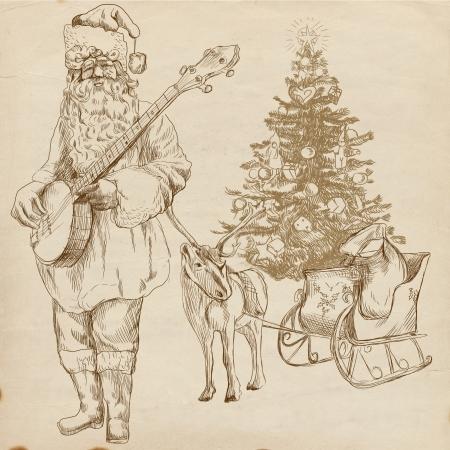 christmas carols: Santa Claus musician - he goes to play Christmas Carols on the Banjo