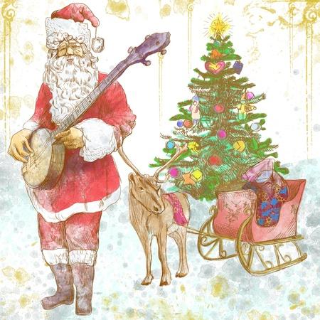 carols: Santa Claus musician - he goes to play Christmas Carols on the Banjo