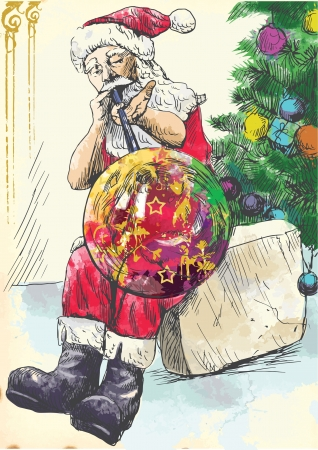 Santa Claus himself made gifts - As a glassblower blows Christmas ornaments on tree