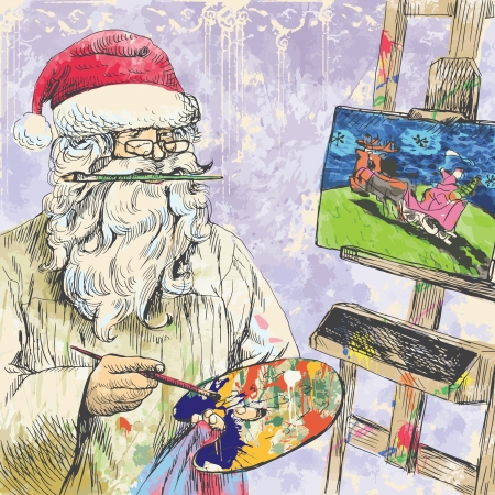 himself: Santa Claus himself made gifts - Painting Christmas card on canvas