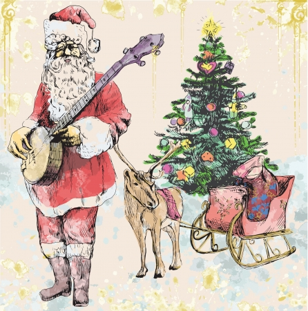 Santa Claus musician - he goes to play Christmas Carols on the Banjo  Vector