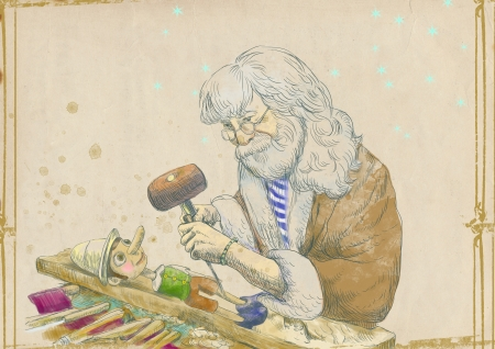carver: Geppetto carves from a wooden-blocks his son, Pinocchio - hand drawing