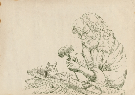 graver: Geppetto carves from a wooden-blocks his son, Pinocchio - hand drawing