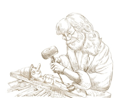 Geppetto carves from a wooden-blocks his son, Pinocchio - hand drawing  photo