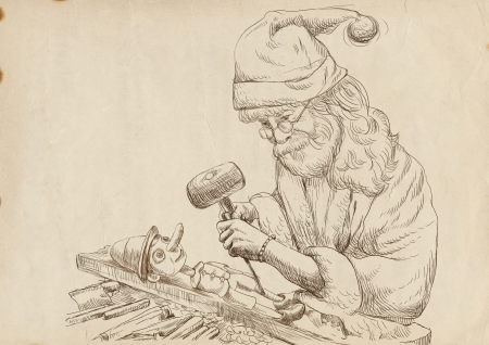 carver: Santa Claus as a sculptor carves Pinocchio - hand drawing