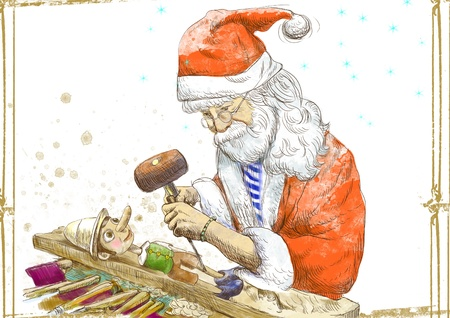 carver: Santa Claus as a sculptor carves Pinocchio - hand drawing Stock Photo