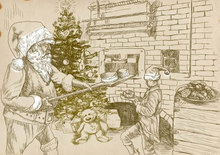 Santa Claus as a baker of Christmas sweets - hand drawing photo