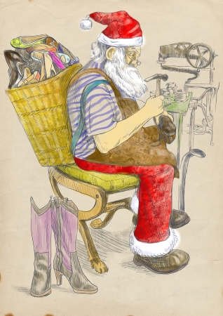 Santa Claus as a shoemaker - hand drawing photo