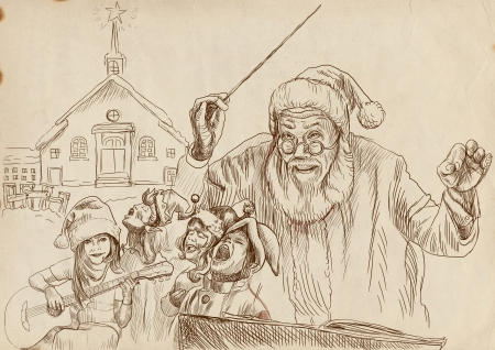 Santa Claus as conductor of the choir of elves - hand drawing photo