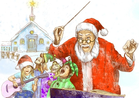 Santa Claus as conductor of the choir of elves - hand drawing Stock Photo - 16639013