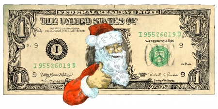 one of a kind: Santa Claus also supports cheap Christmas - hand drawing