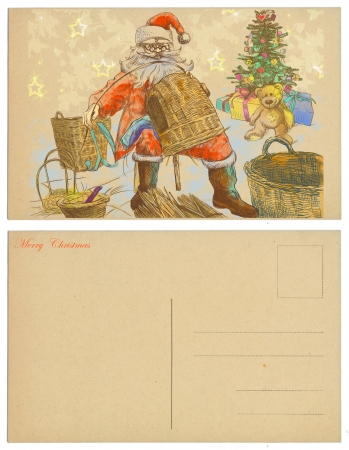 Santa Claus made ​​from wicker baskets for gifts - postcard  photo