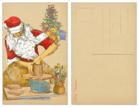producing: Santa Claus as a potter producing ceramics - postcard  Stock Photo