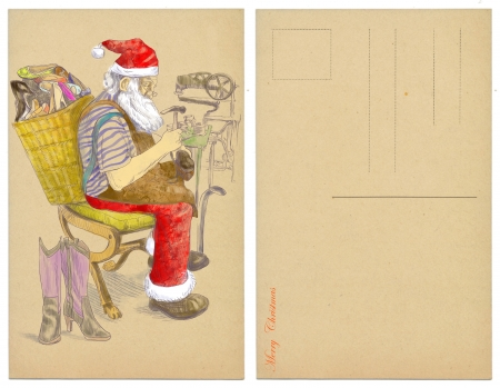 Santa Claus as a shoemaker - postcard  photo