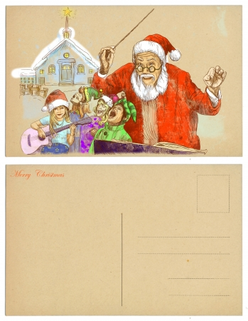 Santa Claus as conductor of the choir of elves - postcard  Stock Photo - 16639029