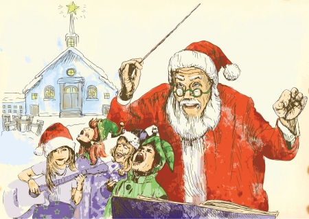 Santa Claus as conductor of the choir of Elves Stock Vector - 16638990
