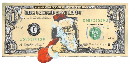 one dollar bill: Santa Claus on the one-dollar bill shows  OK symbol - number 1