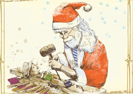 Santa Claus as a carver sculpting Pinocchio marionette