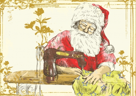Santa Claus as a  vintage  tailor  Vector