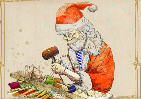 trinchante: Santa Claus como un escultor escultura marioneta Pinocho