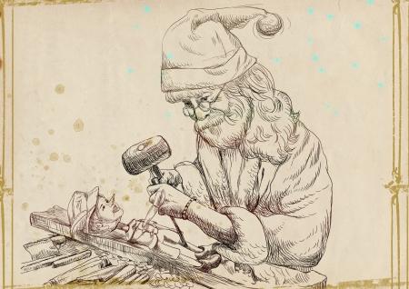schnitzer: Santa Claus als Carver sculpting Pinocchio marionette